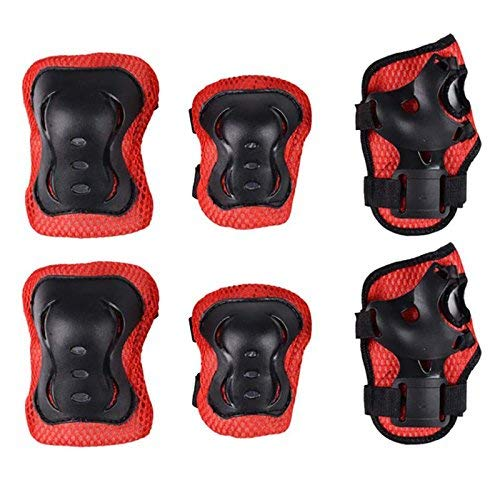 JERN Kids Skating/Cycling/Scooter/Roller Skates 6 Pcs. Guard Set,EVA padded with Plastic (Knee,Elbow & Palm Guard) (Red)