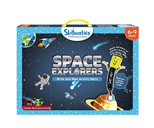 Skillmatics Educational Game : Space Explorers | Reusable Activity Mats with 2 Marker Pens | Gifts & Learning Tools for Boys and Girls 6-9 Years