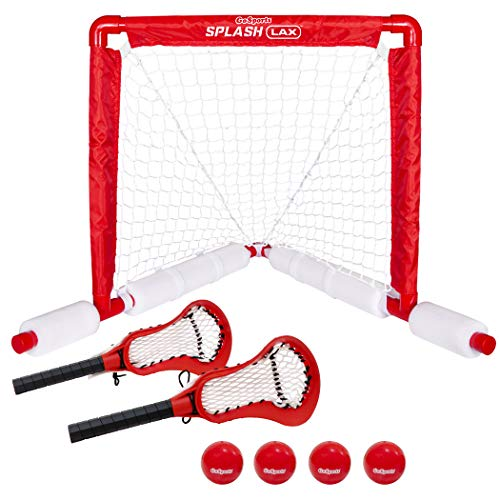 GoSports Lacrosse Floating Pool Goal Set - Includes Lacrosse Water Goal, 2 Lacrosse Sticks and 4 Soft Rubber Balls, Red
