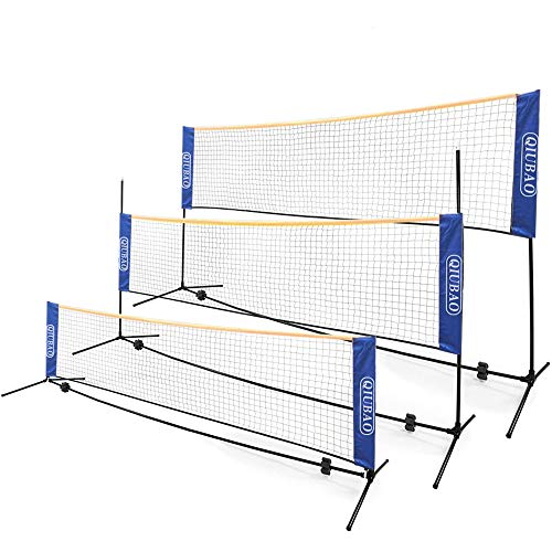 QIUBAO Portable Badminton Net Set - Come with Carry Bag, Easy Set up Net for Tennis, Soccer Tennis, Kids Volleyball -Nylon Sports Net with Metal Poles - for Indoor or Outdoor (14fFT) (14fFT)