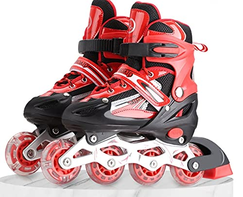 SUNRISE SALES ( RED) Sparkle Adjustable High Performance Inline Skates with Front PU LED Flash Light up Wheels Aluminum Body Beginner Skates Fun Aluminum Alloy Roller Skates Best Gift for All Boys and Girls (RED )