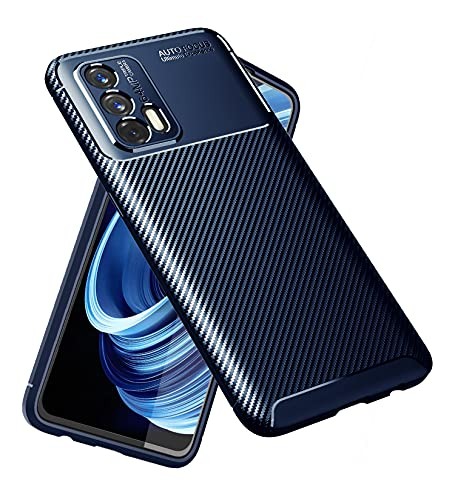 Golden Sand for Realme X7 Max 5G, Realme GT 5G Back Phone Cover Drop Tested Shock Proof Slim Armor Aramid Carbon Fibre Rugged TPU Case for Realme X7 Max 5G, Blue