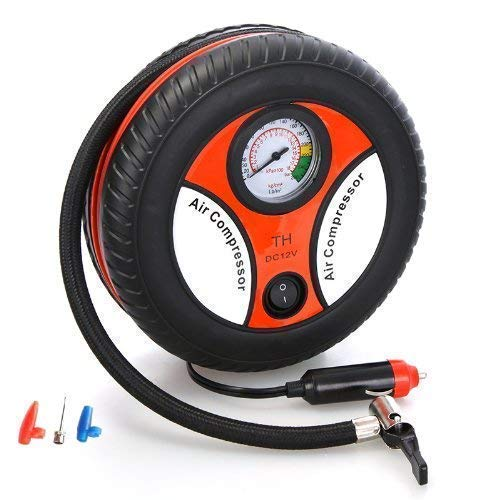 Holy Delight Electric Mini DC 12V Air Compressor Pump for Car and Bike Tyre Tire Inflator (Multicolour)