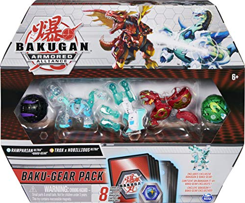 Bakugan Baku-Gear 4-Pack, Ramparian Ultra with Baku-Gear and Fused Trox x Nobilious Ultra Collectible Action Figures
