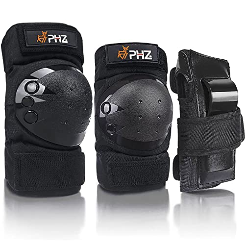 PHZ PHZ Kids/Adults 3 in 1 Skateboard Protective Gear Set Knee Pads Elbow Pads Wrist Guards for Rollerblading Skateboard Cycling Skating Bike Scooter
