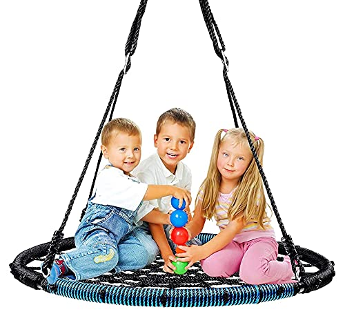 IRIS 38' Saucer Tree Swing, 400 lbs Weight Capacity, Spider Net Round Swing for Adults and Kids with 2 Adjustable Tree Straps, 2 Carabiners, Non-Stop Fun for Kids! (Blue)