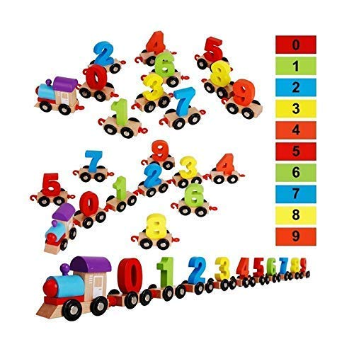 CrazyCrafts Wood Digital Train Set of Numbers From 0-9 Toy, Multicolour, Above 3 years