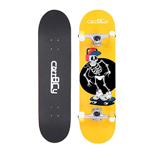 Idea Skateboards31'X 8' Pro Complete Skateboard 7 Layer Canadian Maple Skateboard Deck for Extreme Sports and Outdoors Skeleton Luminous Effect Skating Board