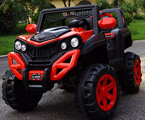 GetBest A 6500 Kids Ride on Jeep with 12V Rechargeable Battery, Music, Lights and Remote Control (Red)