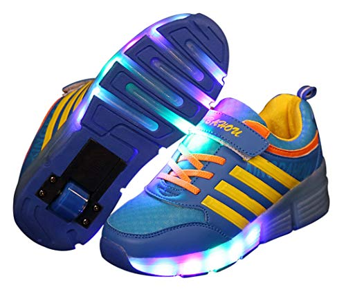 Fascigirl Children Kids LED Flashing Roller Skating Shoes Skates with Single Wheel Soles(Blue and Yellow, 41)