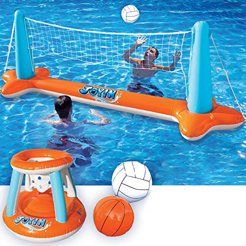 Inflatable Pool Float Set Volleyball Net & Basketball Hoops; Balls Included for Kids and Adults Swim