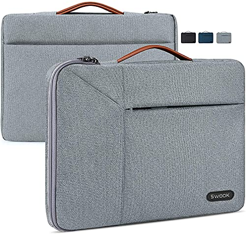 Swook Laptop Sleeve For 13 Inch /13.3 Inch 14 Inch Laptop Case 360 Protective Laptop Work Briefcase Bag Compatible with 13' MacBook Air/Pro,13-14 inch Acer/ASUS/HP/Lenovo/Dell Notebook,(13-14 Inch, Grey)