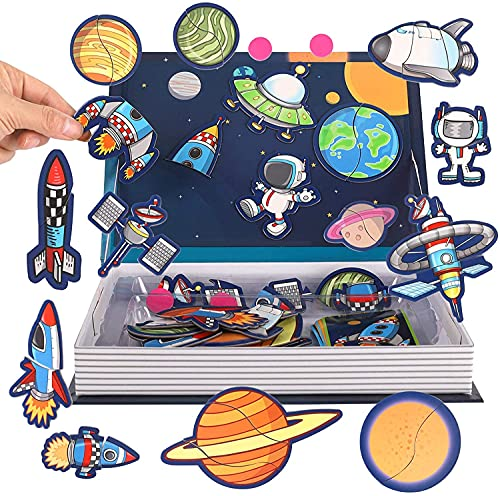Party Propz Magnetic Space Toys - Kids Puzzles For Age 3 Years - Solar System Toys, Solar System Puzzle, Space Toy For Kids 5 years, Educational Puzzles, Learning Puzzles Girls Boys,Space Return Gift