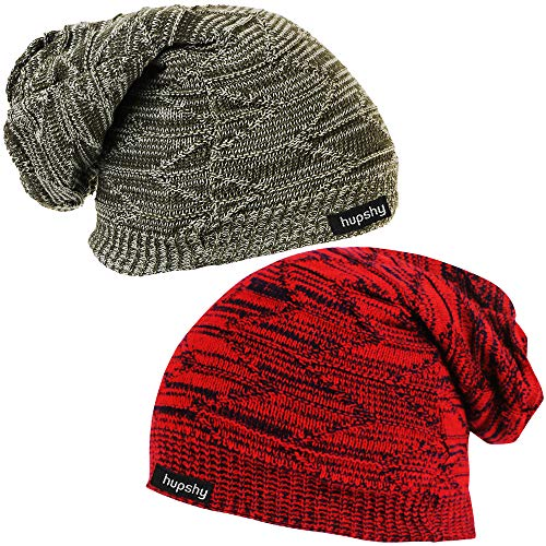 Hupshy Men's and Women's Beanie Woolen Knitted Slouchy Caps Skull Cap (CAP46, Multicolour) - Pack of 2