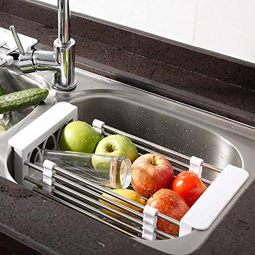 FLYNGO Steel Expandable Kitchen Sink Dish Drainer Strainer and Storage Organizer (Colour Will Be Sent As Per Availability)