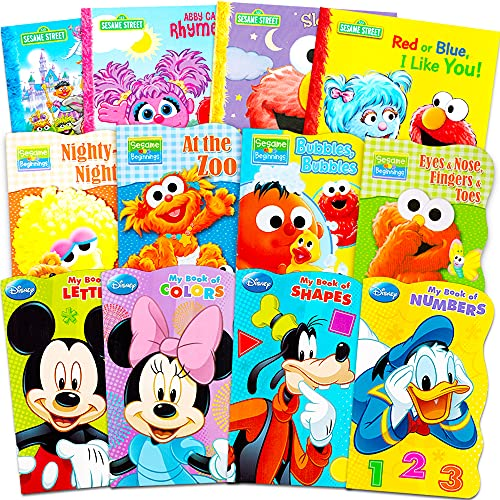 Sesame Street + Mickey Mouse Baby Toddler Beginnings Board Books Story Books (12 Book Set)