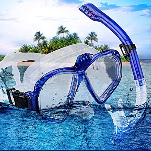 Glaceon Snorkel Set, Diving Set, Swimming Set, Snorkel Goggles with Tempered Glass, Snorkel with Dry top, Silicone mask for Adults, Senior