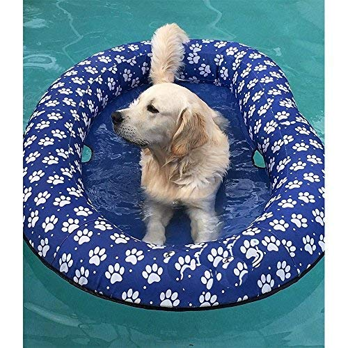 Vercico Inflatable Pool Float for Adult Dogs and Puppies, Large Contemporary Pet Dog Cat Swimming Pool Float Ride on (Blue)