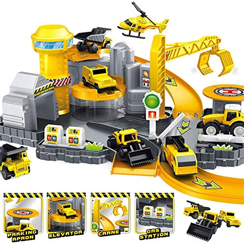 Toys Bhoomi Plastic 3D Car Railway Track Garage Construction Vehicle Parking DIY Model Building Kits Assembly Toy Play Set for Birthday Boys and Girls, Multicolor