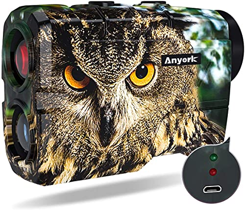 Anyork Hunting Range Finder 1000 Yards,Rechageable Wild Coma Rangefinder for Shooting with Angle and Stright-Line Distance, 6X Magnification Laser Rangefinder with Scan, Gift Package