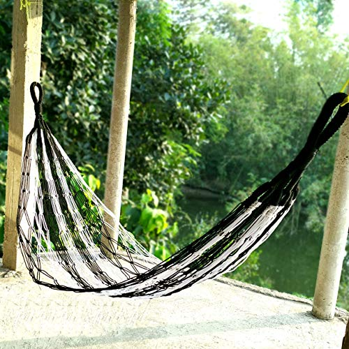 CRM TRADERS Nylon Rope Swing Hammock Hanging Mesh Relaxing Bed for Garden Outdoor Jhula (Black&White)